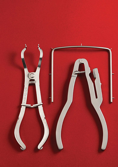 Rubber dam instruments and clamp forceps